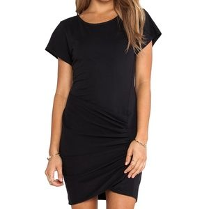Theory Black T-Shirt Dress Small Ruched Revolve